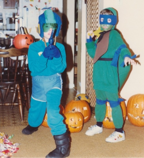 Show & Tell: Halloween Parade Josh as Mega Man and Nick as Leonardo, Halloween of 1990.