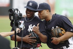 bronxbombers84:  Robinson Cano and Curtis Granderson joking during an interview.  Can they be more precious?