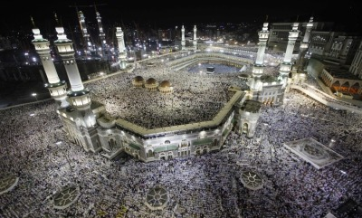 thepoliticalnotebook:  Picture of the Day. The Grand Mosque in Mecca, Saudi Arabia. Tens of thousands of Muslims circumambulate the Kaaba as part of the traditional pilgrimage of Hajj, one of Islam's five main pillars.  Photo Credit: Hassan Ammar/AP  Via. View more Picture of the Day posts. Submit a photo.