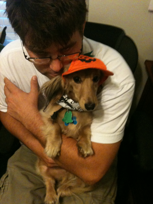 Hubby and my little pumpkin. Happy Halloweenie, everyone!
