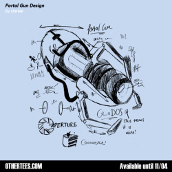 "othertees:  Hand Drawn Portal Gun replica on your shirt ! ""Portal Gun"" by clarkie is now on sale at OtherTees for the next 4 days until 04th November !  You can grab it in one of six colours and for 8£/9.5€/13$ only ! Visit us on Facebook to enter for a chance of winning this tee for free !"
