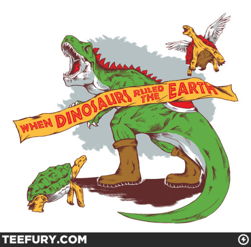 gamefreaksnz:  teevil:  When Dinos Ruled the Earth by Melee_Ninja on sale Wed 11/02/11 at teefury.com  USD$10 for 24 hours only
