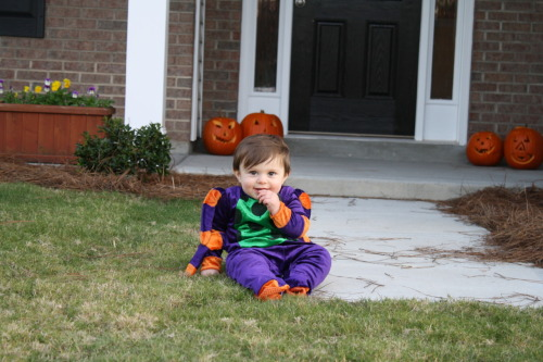 Our first Halloween. Max was a spider. We took him door to door until I got tired of carrying him. And he loved it. He'd take a candy bar from somebody's house and chew on it, wrapper and all. When we'd get to the next house and the wrapper was turning into pulp, he'd drop it off in their basket and grab something new. Good times. NOTE: It was impossible to keep his little spider hat on. He wouldn't wear it.