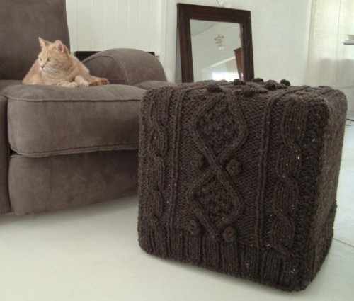 I just found this pic of a handmade knitted sofa & ottoman combo; I want to sleep in it. BiscuitScout is the name of this cool slip-covers Etsy shop. So cute.  A wooden stool with leg warmers. Ah, so cute - winter is here. Brrrrrr :)