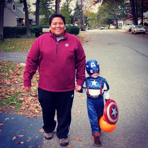 Trick or treating with Captain America! #halloween  (Taken with instagram)