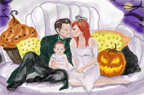 Happy Hallowe'en Castiel/Anna (holding Grace) Drawn in GIMP open canvas October 2011