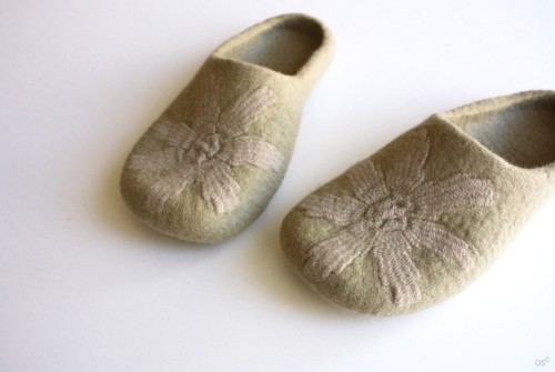 Forgotten memories  Eco friendly Felted slippers