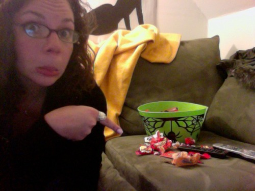 I got NO trick or treaters!! So I have to eat all the candy…. But seriously, i even have a lit pumpkin outside, and no one came.  ….. Oh, and did I mention I was in costume too?