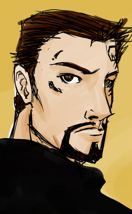 A lol-worthy portrait of Adam Jensen, all in Paint Tool SAI. #oneaday CC @mersipan @JediJayne @mydwynter I am so rusty with my tablet -__-