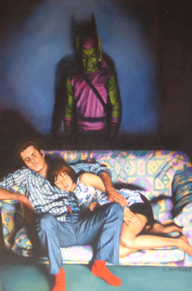 kayfabe:  spideyssense:  Spidey, Mary Jane & The Green Goblin by John Watson.  The most disturbing (non sexual) Spider-Man art I've ever seen.