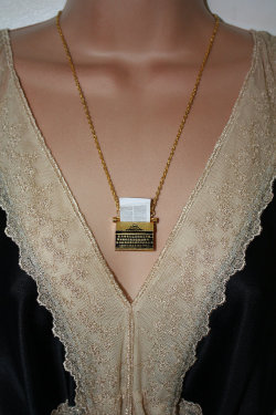 booksandnerds:  The Writer - Gold Plated Typewriter Necklace for sale here