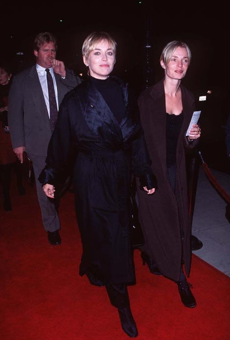 Sharon Stone and friend at the premiere of Hamlet, 1996.