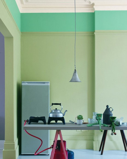 This week we're loving the trend of two-tone walls! Forget having to choose either Dr. Jekyll or Mr. Hyde for your room's hue, make it both. A complimentary colour palate gives an unassuming depth to a space and allows for your design personality to shine through. Whoever said you can't have the best of both worlds was sadly mistaken. [Via: Apartment Therapy]