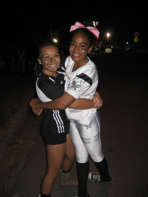For Halloween, I was a Maori All Blacks Rugby Player and my cousin Cheyenne was a football player :)