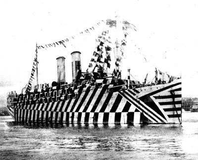 "steampunkvehicles:  Razzle Dazzle camo designed to confuse visual rangefinders.  Each pattern painted onto a model by women at the Rhode Island School of Design and then copied onto the ship by sailors.  fishlisp:  British ship in 'dazzle' camouflage.    This is amazing! Note to self: paint truck in ""dazzle"" to confuse photo radar?"