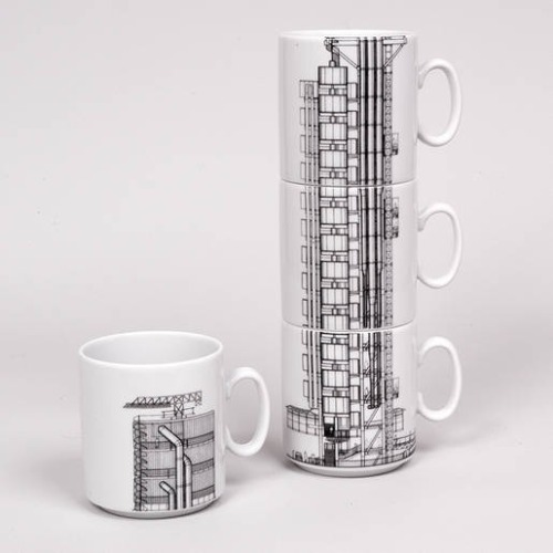patampopcorn:  Stacking mugs showing Richard Rogers' architectural drawing of Lloyd's London (2011).  The single mug is £14.95. The stacking mugs appear not to be for sale any more.