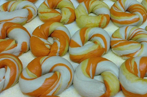 Candy corn bagels.