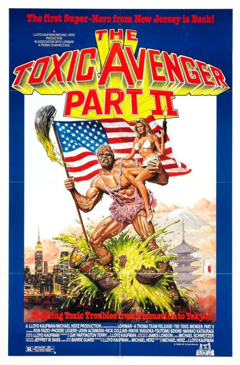 Month Of Horror: 26. Toxic Avenger Part 2, 1989 Welp… I decided to continue with this series, but I guess these movies get dumber with each sequel… The story seems to have been pulled straight out of a cartoon, the movie is self aware of it's suckiness apparently. The jokes are even less funny than the last movie, over the top acting, bad acting, dumb acting. Some of the gore scenes are good, others are really shitty. There is a lot of unnecessary nudity also. I guess is a Troma tradition. In this film Toxie (yeah they call him Toxie in this one) goes to Tokyo to look for his father, I think it was just an excuse for the filmmakers to go to Japan, a lot of the scenes make it seem like they just started walking around japan without any idea of what they were going to do. There are a lot of racial stereotypes, Japanese, Jewish, Latino, Afro American… oh and seems like it's a running gag to have a dude dressed in drag fighting the Toxic Avenger. In the last movie there was this one guy but he got killed off (of course), in this movie there are two, an American and a Japanese. I am really rethinking if I am ever gonna watch the other 2 movies.  P.S. Toxie can now move his popping eye.
