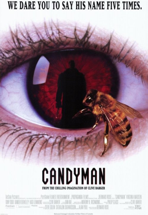 "Month Of Horror: 27. Candyman, 1992 ""I heard you lookin for Candyman bitch"" Candyman, say it five time staring at the mirror and prepare from some freaky dicky shit. This movie was all the fuzz when I was growing up, the kids at my school were always making up stories about flipping Candyman and that is why I didn't watch this piece of gold when I was a kid myself. Also, when I got older and I started enjoying the horror genre I thought it was so weird and laughable. A dude wearing a pimp coat who happens to have a hook by hand an bunch of bees in his fake looking rib cage. Anyway, I was right, this movie is one of those movies that are so bad they're good, funny as hell, there are some interesting scenes and effects, but the dialog is shitty and a lot of the events are just plain weird. My favorite scene is when the main white lady gets beaten and then has to recognize the criminal. It made me laugh a lot. If you like urban legend folklore and pimp coats, give it a watch.  P.S. Eddy Murphy was considered to play the part of Candyman, which I think would have been even more hilarious. Also, Sandra Bullock was considered for Helen, the white lady."