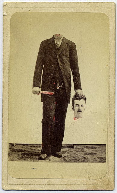 Trick photo, decapitated man with bloody knife, holding his head by George Eastman House on Flickr.