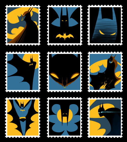 timetravelandrocketpoweredapes:  Bat-Stamps by fishnbacon Artist: Tumblr/DeviantArt  LIKEY