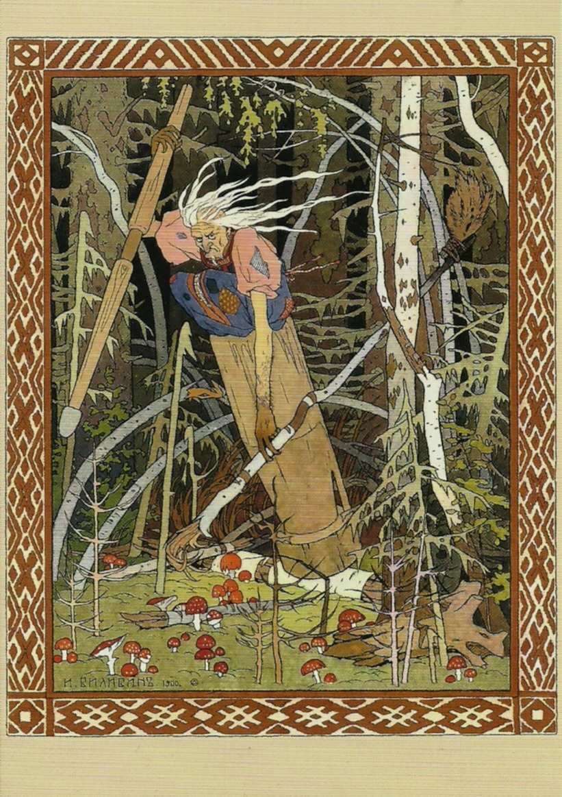 "Ivan Bilibin: ""Baba Yaga"" A witch living in the forest, flying with a mortar and pestle and eating little children. That's Baba Yaga. And beautiful Vasilisa was sent to get light from her by her evil stepmother. Baba Yaga makes her do impossible tasks, in order to get an excuse to kill her, but thanks to the help of the magical doll given to Vasilisa by her dying mother, she manages to do all the chores in time."
