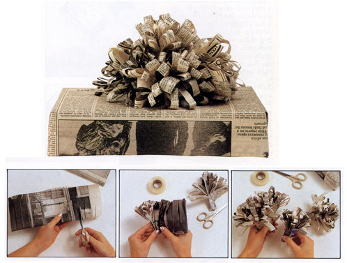 Recycle newspaper into pretty gift wrap  Newspaper Gift Wrapping