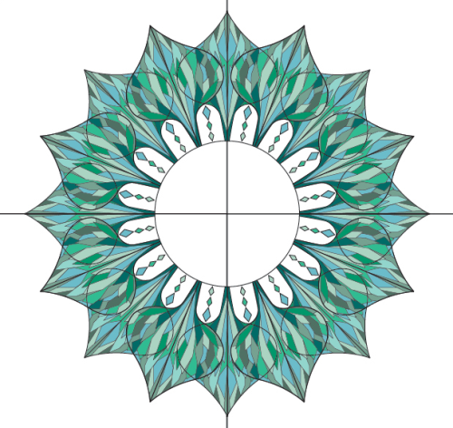 A stained glass design for 'Lululemon' (2011)I was asked to use the lotus leaf shape to create a stained glass design for s store from for the brand 'Lululemon'. Working with a cool colour palette was also part of the brief.