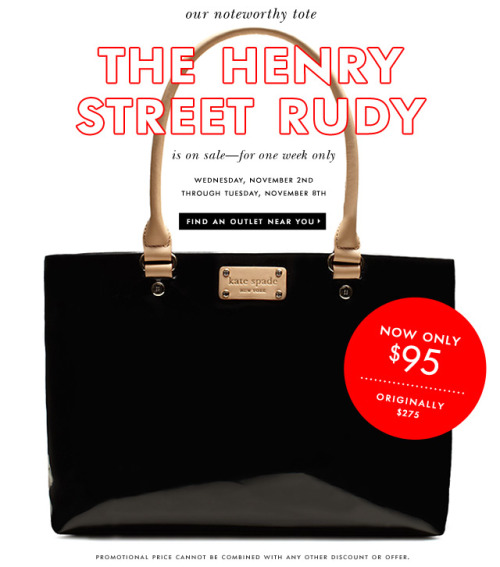 chiconthecheap:  Kate Spade Henry Street Rudy Tote - $95.00 If you're looking for a great tote for work or school for winter, stop by a Kate Spade Outlet this week to get this tote, on sale from its original price of $275.