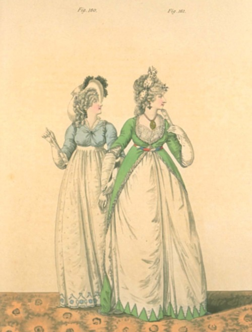 Gallery of Fashion, November 1797.  I love the bright green!