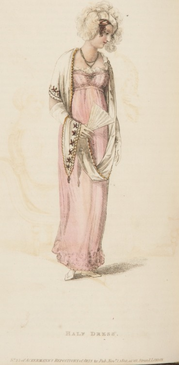 Ackermann's Repository, Half Dress, November 1810.  Well I'm cold just looking at her!