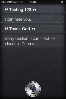 Does Siri believe God to be Danish?