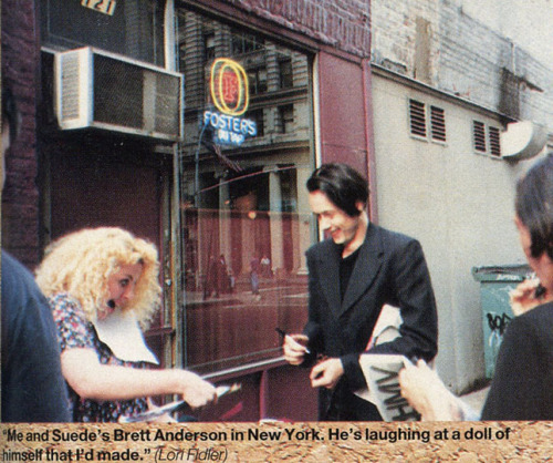 Brett Anderson & fan in NYC, Q Magazine, 1993.