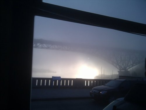 Crazy fog over Lake Union, as seen from the Fremont Bridge. #seattle (Taken with picplz in Seattle, WA.)