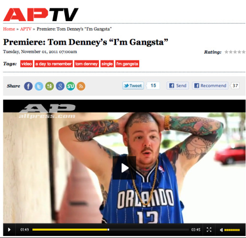 "Check out the premiere of Tom's music video for his single ""I'm Gangsta"" on Altpress.com"