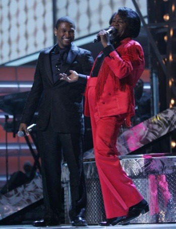 Usher and James Brown perform at the 47th Annual GRAMMY Awards held at Staples Center on Feb. 13, 2005 Photo: Kevin Mazur / WireImage.com