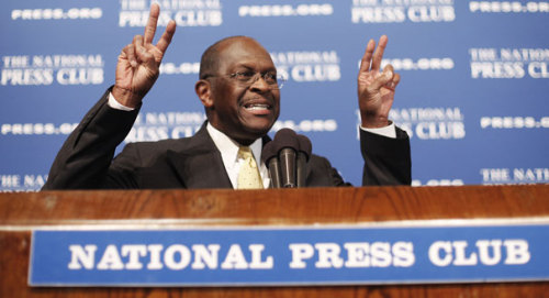 "inothernews:  CAIN:   I have a ""credible flat tax plan.""  I am ""running for President"" and not just using this ""campaign"" to ""sell books.""  Also, my ""book"" is not so much a ""book"" as it is ""transcribed, rambling rhetoric"" that ""uses exclamation points like Snooki uses spray tan.""  I ""occasionally break out into song"" and ""approve campaign ads that weren't meant to be seen.""  I refer to my campaign manager as ""Mark Blockhead"" and fellow Republicans as ""just blockheads.""  And finally, last but not least, I'm a ""Republican presidential frontrunner."" (Photo of ""Herman Cain"" doing ""air quotes"" by ""The Associated Press"" via ""Politico"")  Our coverage of Herman Cain's response to allegations of sexual harassment. (Is this photo a meme yet? Sorry, ""meme""?)."