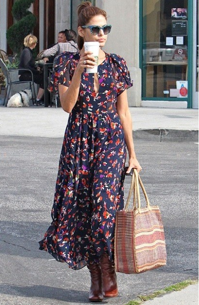 Eva Mendes looking great in her Vanessa Bruno dress out and about in Los Angeles this weekend.
