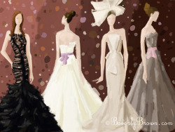 An ipad illustration of wedding gowns from Vera Wang's Spring 2012 bridal collection.