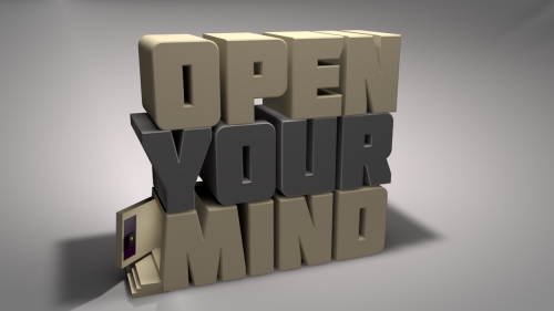 Open Your Mind door opening (made on cinema 4d) clip from an animated video