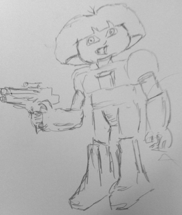 At the request of my kids, I drew Dora the Explorer as a space robot.