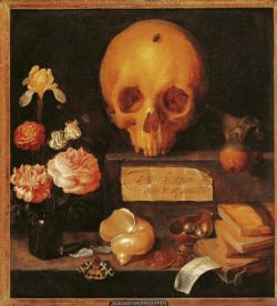 poboh:   Vanitas Still Life with Flowers and Skull,  Adriaen van Nieulandt.  Flemish Baroque Era Painter (1587-1658)