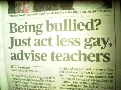 thatryguy:  gaydreams:  thedailywhat:  Bad Teachers of the Day: Spotted in today's Evening Standard. I'm no advice expert, but that seems like a fairly uneducated thing to recommend. [reddit.]  That won't solve the problem …  Any teacher worth his/her salt would never recommend this.  Shame on them.