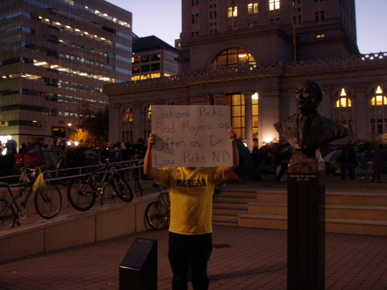 Our 5th ZuccottiBraid goes to Rob at Occupy Oakland for our favorite fan pic: Oakland Picks Bad Mayors as Often as Dr. Lou Picks Notre Dame