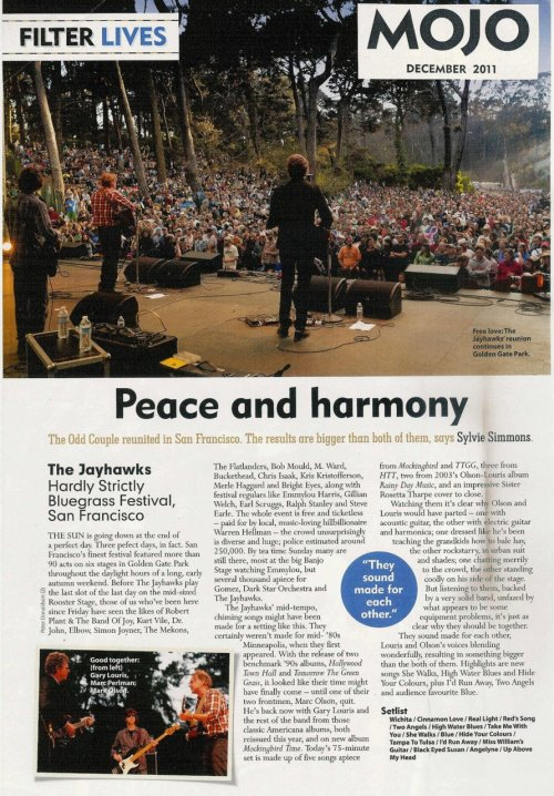 Jayhawks at Hardly Strictly Bluegrass Festival - Mojo Magazine