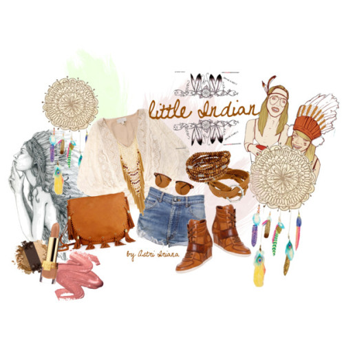 Little Indian by cabichie featuring beaded jewelryBeyond Vintage lace blouse, £178One Teaspoon short shorts, $100Ash wedge shoes, £190Beaded jewelry, $185Waxing Poetic wrap bracelet, $80Peacock necklace, £6Retro sunglasses, £10stila cosmetics - eye shadow trioNEW SHADES, $20stila cosmetics - long wear liquid lip colorAntik Batik Bowie Dress, $195