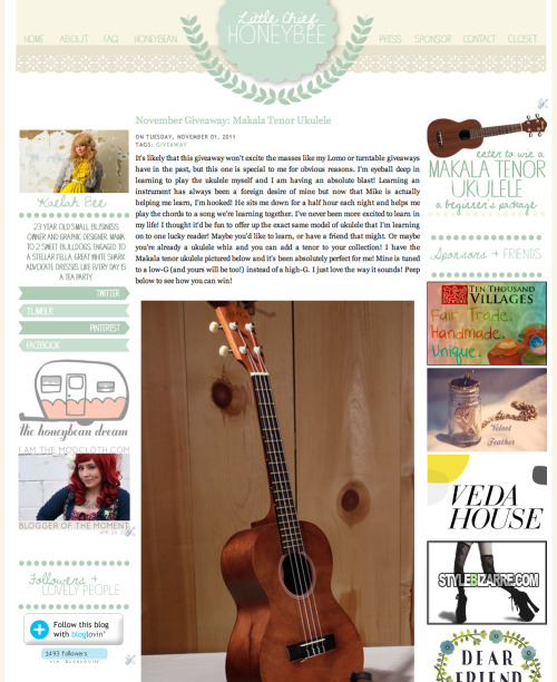 Enter to win a Makala tenor Ukulele on the Little Chief Honeybee blog in November! Yep, the same model that I play! Hooray! Reblogging this counts as an entry so be sure to head over and leave a comment or 5! Good luck! xo