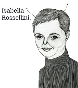 an old portrait of Isabella Rossellini. 2011, graphite and ink.   © Mai Ly Degnan