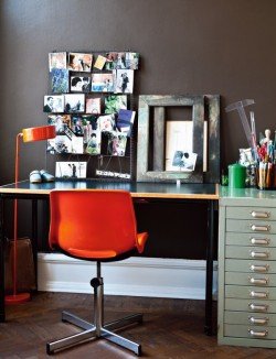 Oh, I how love grey and orange together… myidealhome:  industrial workspace (via ideastosteal)