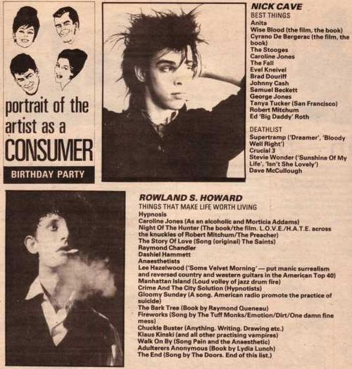 Nick Cave and Rowland S. Howard in the NME LOL apparently Nick wasn't a fan of Supertramp. Points to anyone who actually knows who the Crucial 3 are.
